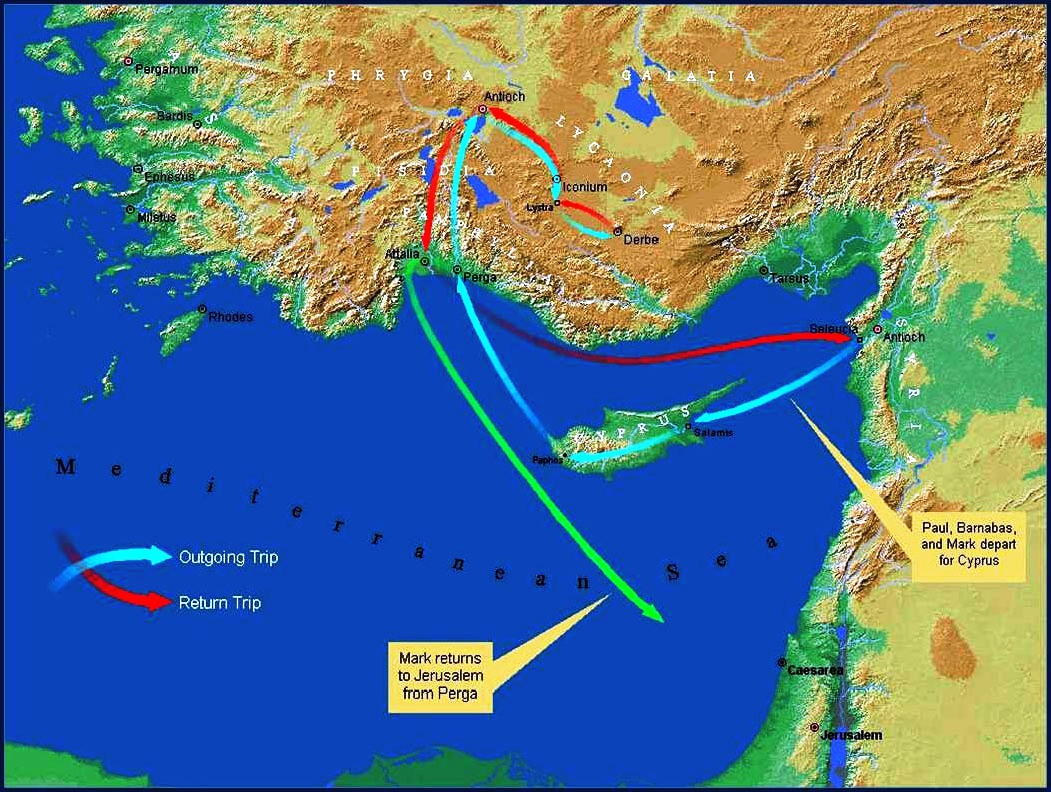 ACTS 13 Paul Takes up the Torch First Missionary Journey to – Map Of Pauls Travels